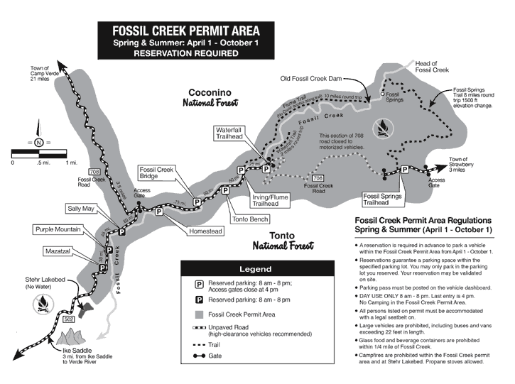 Map of Fossil Creek Permit Area and Regulations (Summer)